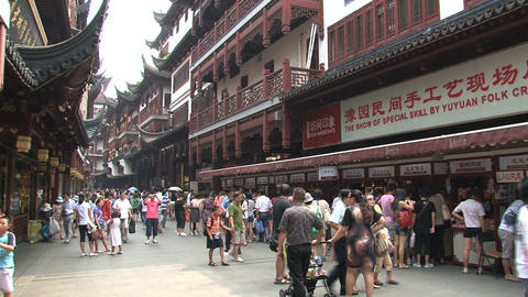 Crowd at Yuyuan Garden Footage