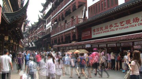 Yuyuan garden crowd time lapse Stock Video Footage