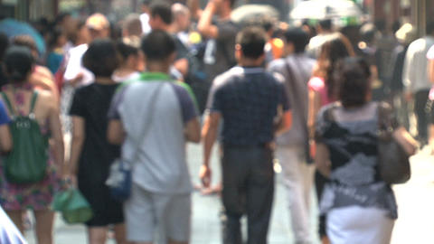 People in the streets of yuyuan garden in slowmotion Stock Video Footage