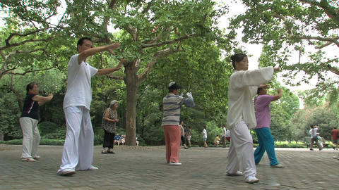 Tai Chi in Zhongshan park Footage