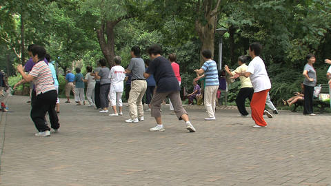 Group people doing Tai Chi Footage
