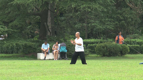 Elderly man doing Tai Chi Stock Video Footage