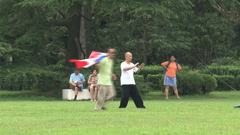 Elderly man doing Tai Chi Footage