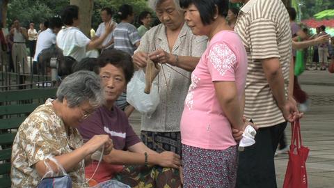 Elderly people scene in Zhongshan park, Shanghai Stock Video Footage