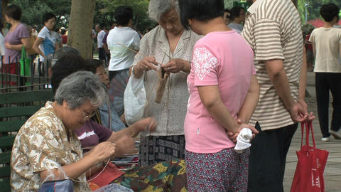 Elderly people scene in Zhongshan park, Shanghai Footage