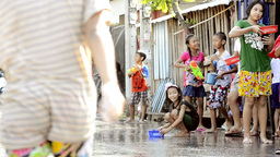 Children Splashing Cars During Songkran Festival Stock Video Footage