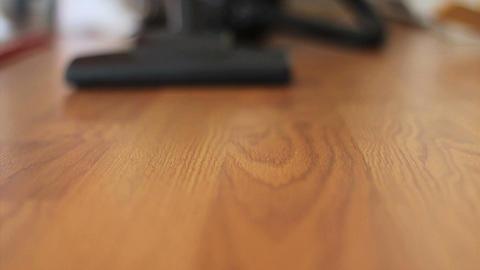 Vacuuming Laminate Floor Low Angle Stock Video Footage