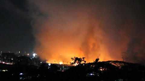 Wild Fires At Night Burn Out Of Control Stock Video Footage