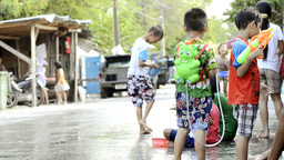 Songkran Water Fight in Thailand Stock Video Footage
