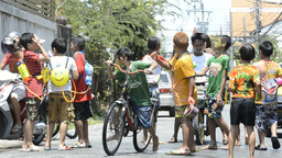 Chaotic Water Fight During Songkran Festival Footage