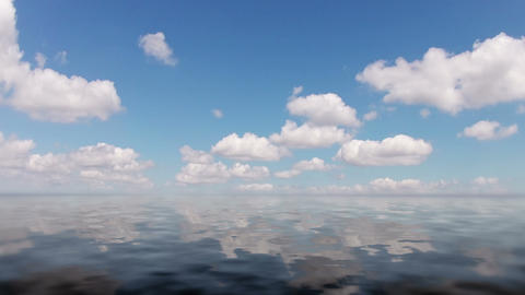 Clouds and calm ocean. Timelapse Stock Video Footage