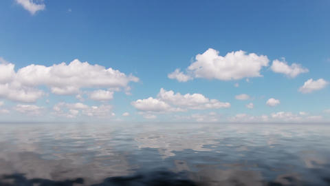 Clouds And Calm Ocean. Timelapse stock footage
