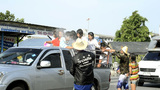 Songkran Water Fight With Truck Loads of People Footage
