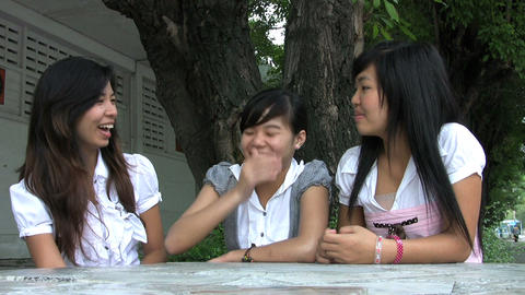 Three Asian Students Hanging Out Stock Video Footage