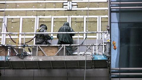 Workers On Platform Stock Video Footage