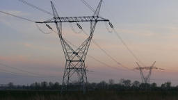 Power lines at dusk Footage