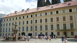 The Prague castle and the fountain at the courtyard Footage
