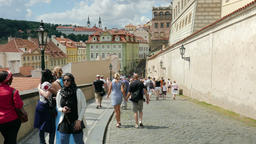 Tourists in Prague, Czech Republic. Prague, downtown Footage