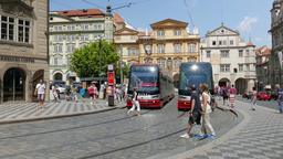Trams in the old town in Prague, Czech Republic. Prague downtown Footage