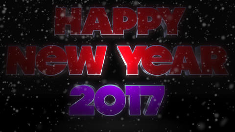 Happy New Year 2017 Text with Snow Falling Footage