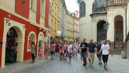 Street in the old town in Prague. Czech Republic Live Action