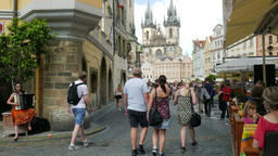 Climate of Prague. Old town, architecture and strolling tourists Live Action