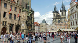 Old town in Prague and Prague astronomical clock. Prague orloj Footage
