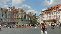 The Jan Hus Memorial at the Old Town Square, Prague Footage