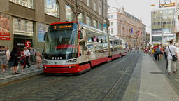 Trams on the street of New Town in Prague, Czech Republic Footage