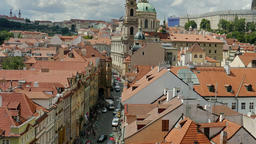 Zoom out from the street leading to the Charles bridge to the Prague Castle Footage