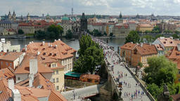 Prague, Czech Republic. Zoom out from the Charles bridge Footage
