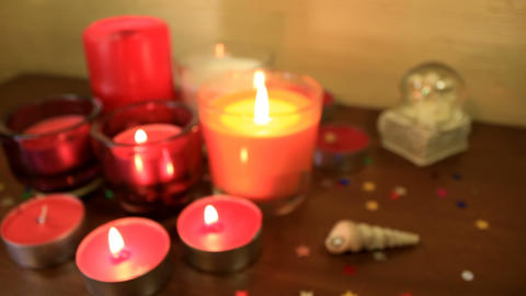 Burning candles. Focus in Footage