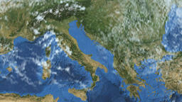 Rotating Earth - Slow passage through Italy Animation