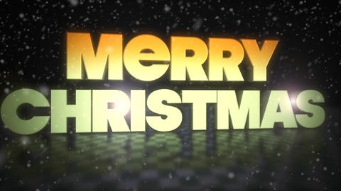 Merry Christmas 3D Text With Snow Falling Footage