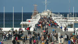 View on people strolling on the pier in Sopot, Poland Footage
