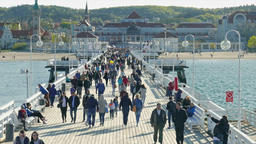 People on the pier in Sopot, Poland Footage