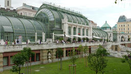 The Imperial Butterfly House and the Palmenhaus (Palm house) in Vienna, Austria Footage