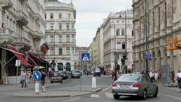 Philharmoniker street in Vienna. Daily life scene Footage