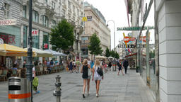 People on Karntnerstrasse - shopping street in the center of Vienna Footage