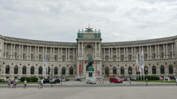 Statue of Prince Eugene of Savoy at Heldenplatz and Hofburg Palace, Vienna Footage