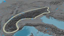 Revolution around Alps mountain range - glowed. Elevation map Animation