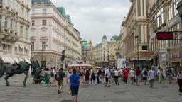 The Graben, one of the most famous promenade and shopping street in Vienna Footage