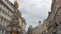 The Plague Column (Pestsaule), a Holy Trinity column. Graben, Vienna Footage