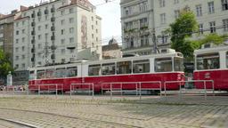 Red tram on the street of Vienna, Austria Footage