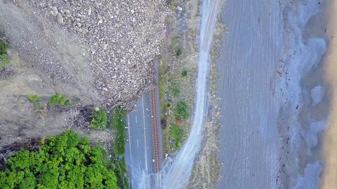 Aerial Kaikoura Earthquake mountain fall dawn Footage