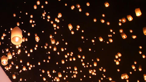 Floating lantern festival(yee peng lanna)in Chiang Mai, Thailand Footage