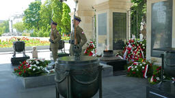 Warsaw, Poland. Soldiers at The Tomb of the Unknown Soldier Footage