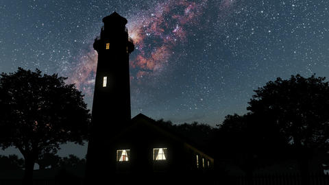 lighthouse and Milky Way stars at night. Elements of this image furnished by NAS Footage