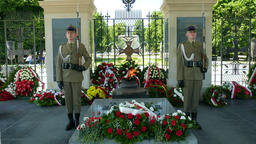 Eternal flame and honor guard. Soldiers at The Tomb of the Unknown Soldier Footage