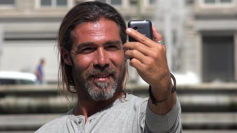 Handsome Man Self Portrait Stock Video Footage